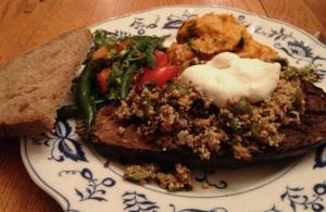 Mixed Bean Salad, Butternut squash &tahini spread, and Chermoula eggplant with bulgur &yogurt
